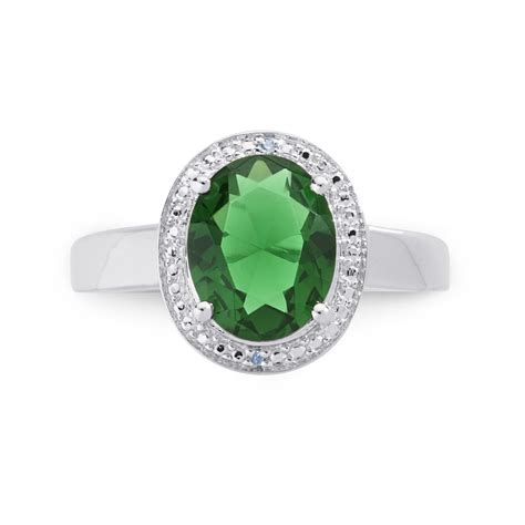 oval cut simulated emerald sterling silver ring jewelry