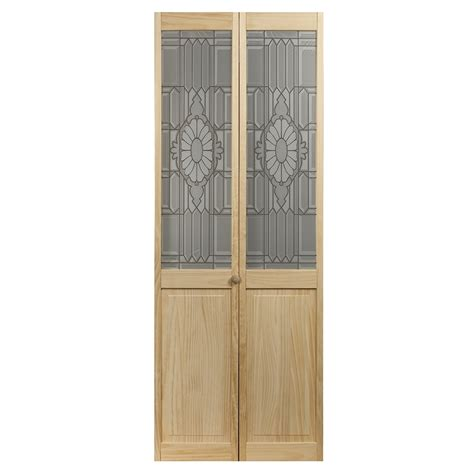 Lowes Folding Closet Doors Shop Pinecroft 1 Lite Solid Pine Bifold Closet Door Common 32 In X 80 5 In Actual 31 5
