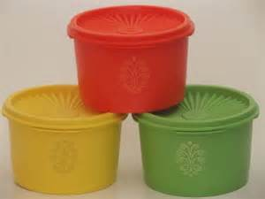Unused Vintage Tupperware Canister Containers, Green, Orange, Yellow