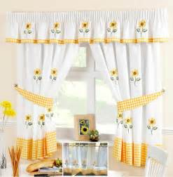 Yellow Kitchen Curtains Valances Sunflower Yellow White Voile Cafe Net Curtain Panel Kitchen Curtains