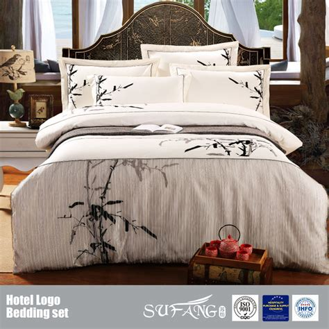 bamboo bedding set classical bamboo design embroidery bedding set wholesale including bed sheet duvet cover quilt