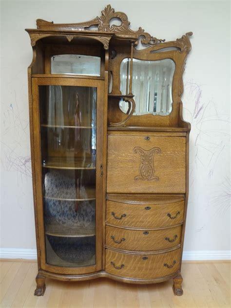 antique american nouveau oak desk display