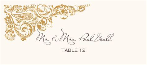 Paisley Power Corner Wedding Place Cards and Wedding
