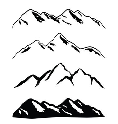 drawn mountain vector pencil and in color drawn mountain