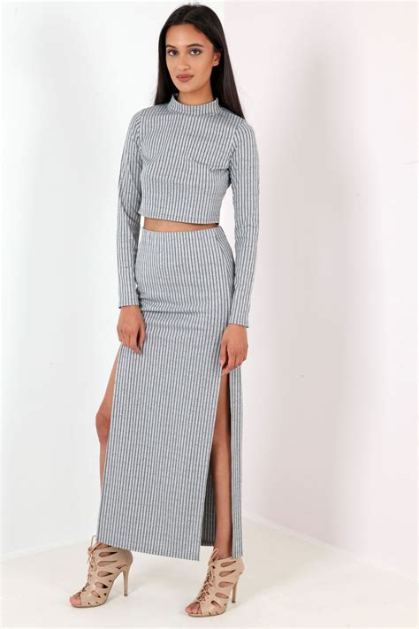 ribbed split side maxi skirt from premier glam