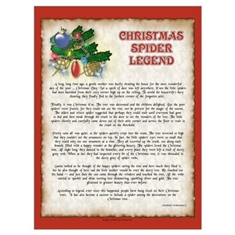 printable version of the legend of the christmas spider the christmas spider legend poster
