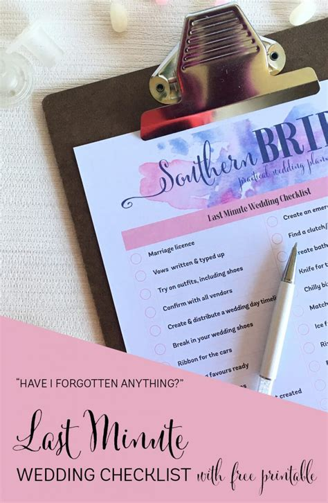 wedding checklist week of last minute wedding checklist for the week before the