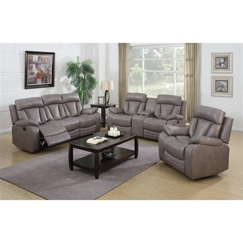 gray sofa set chintaly modesto faux leather 3 sofa set in gray modesto 3pc set