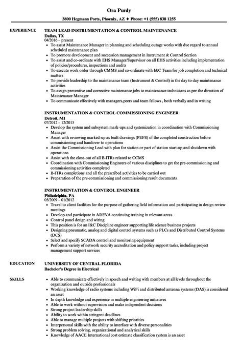 experienced instrumentation engineer resume format instrumentation resume sles velvet