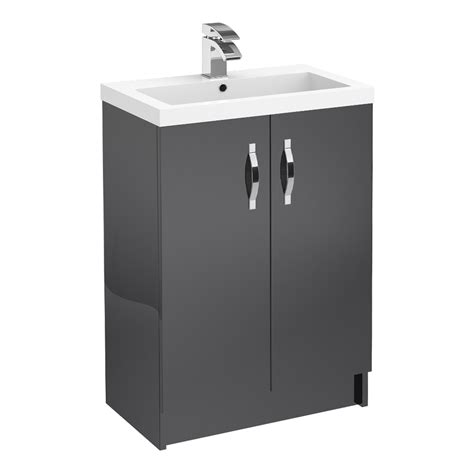 grey gloss bathroom vanity unit apollo 600mm double door floorstanding unit grey gloss