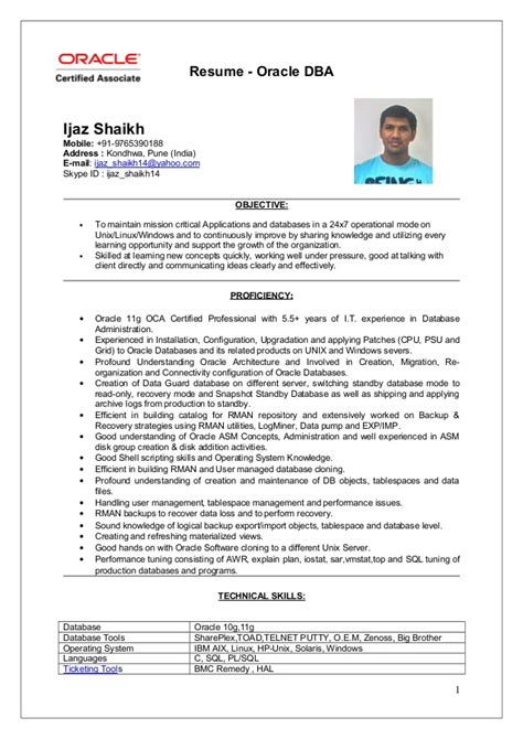 Oracle Dba Resume ijaz oracle dba resume updated