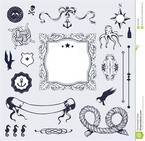 nautical design elements vector nautical vector set with elements for your design royalty