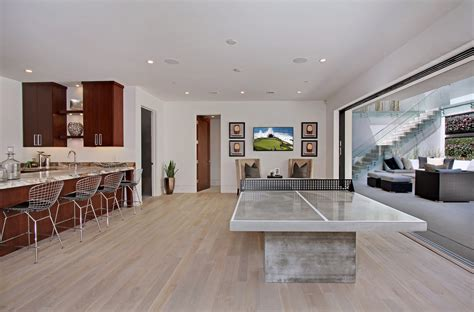 white oak hardwood flooring basement contemporary with