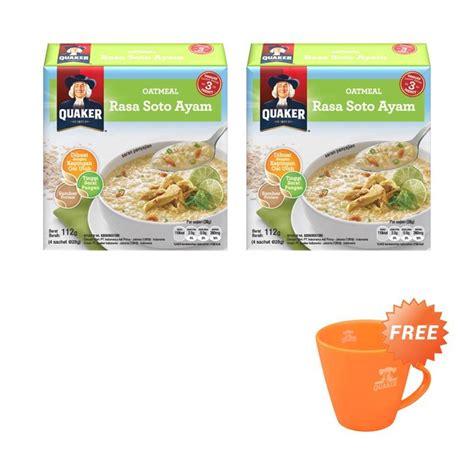 Quaker Oat Meal Soto Ayam Dan Kari Ayam jual quaker oatmeal soto ayam cereal free mug 4s 2 pcs