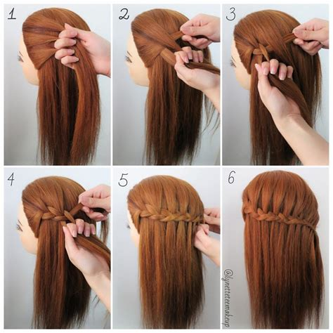waterfalls cascade braids step by step three strand waterfall braids check out the steps below