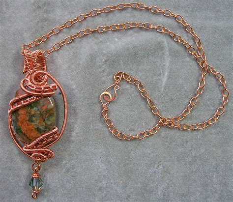 how to make copper wire jewelry green opal copper wire wrapped pendant jewelry by
