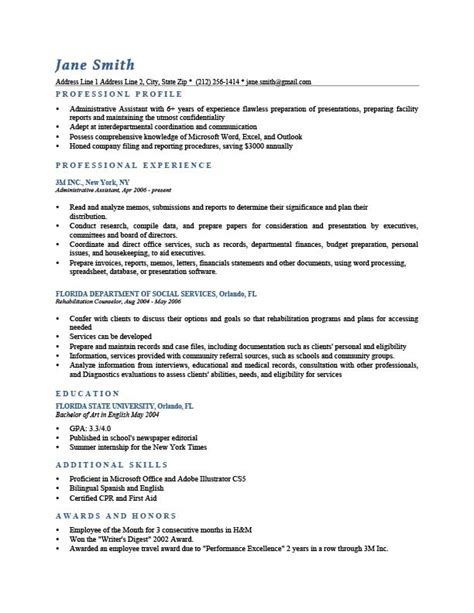 personal profile examples for resumes personal profile for