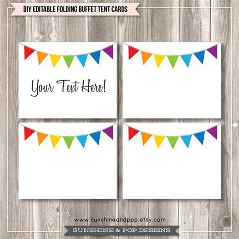 Buffet Tent Cards Template by Free Editable Tent Cards And Buffet Labels Rainbow