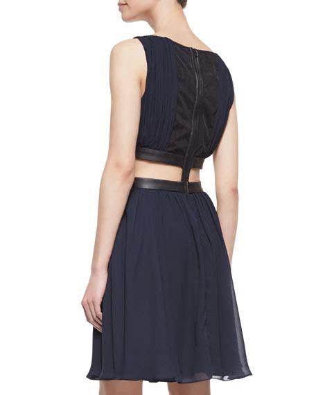 Winny Dress winny cutout leather trim dress
