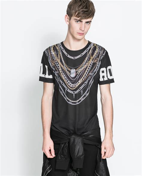 zara chains t shirt in black for lyst