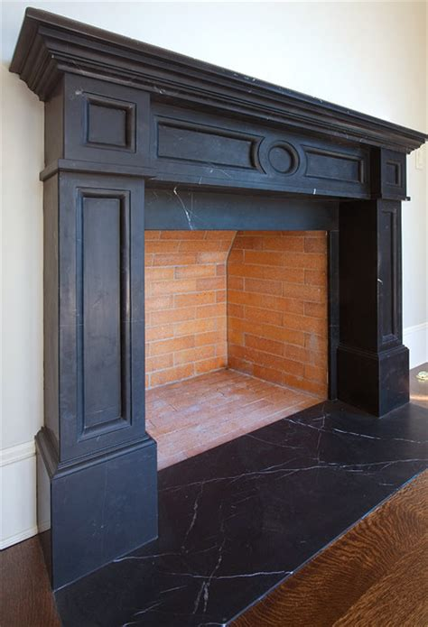 Soapstone Fireplaces - soapstone fireplace craftsman living room seattle