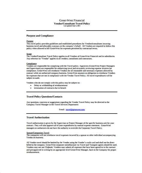 contract policy template sle travel policy template 9 free documents