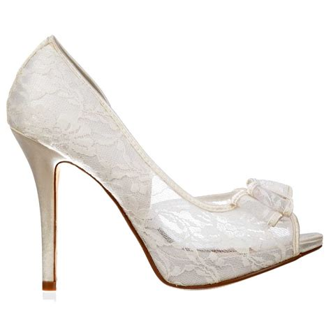 Lace Bridal Shoes by Onlineshoe Peep Toe Bridal Wedding Shoes Meshed Lace