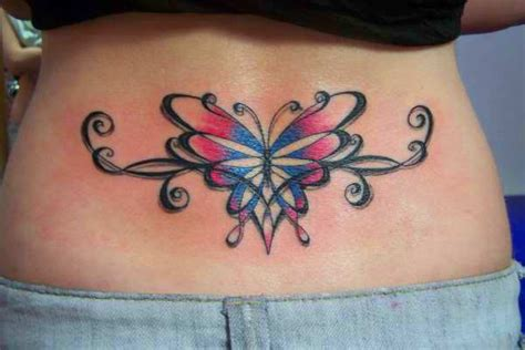 beautiful lower back tattoo designs this beautiful lower back of a butterfly uses a