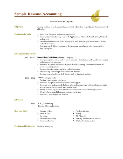 sle of resume for accountant sle resume sle resume template accountant