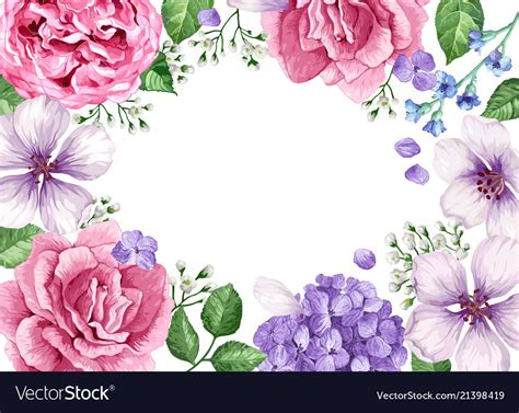 Watercolor Flower Frame Banner Picturesque Drawing Www Picturesboss Com Flower Banner Template