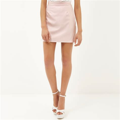 river island light pink leather look a line skirt in blue