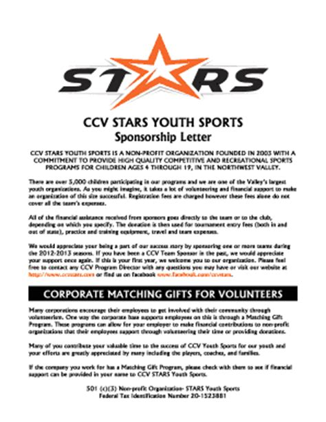 Sponsorship Letter Youth Baseball Sports Sponsorship Letter Fill Printable