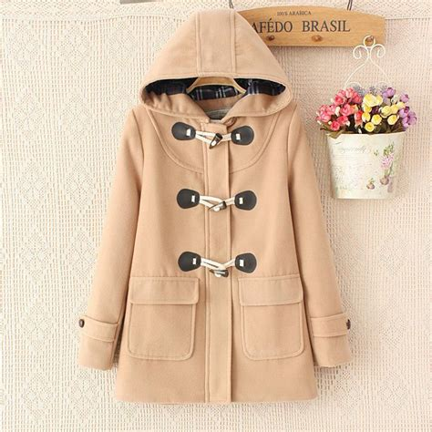 Sweater Batwing Verve Coksu duffle coat turn ٩ ۶ horn button hooded collar collar woolen overcoat wide