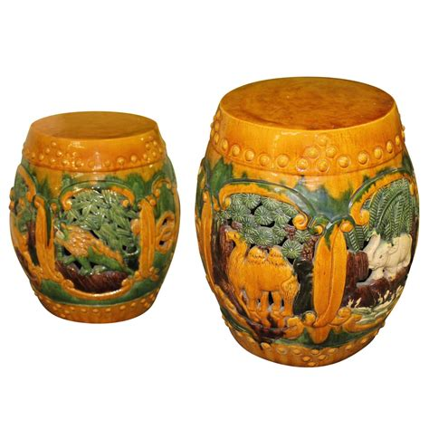 Garden Drum Stool by Vintage Pair Of Ceramic Garden Drum Stools Or Stands With