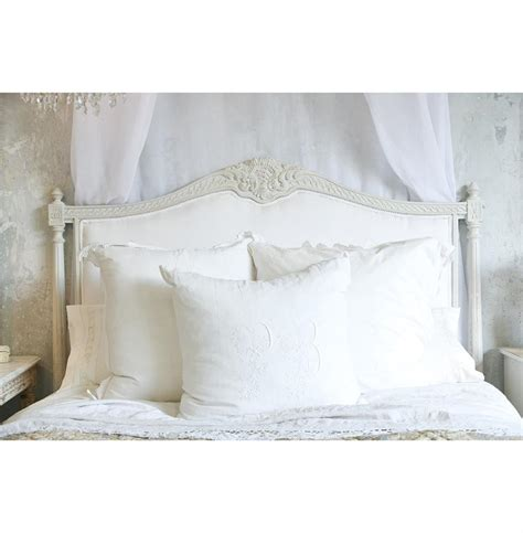 Country Headboard by Louis Xvi Country White Cotton Upholstered Headboard King Kathy Kuo Home