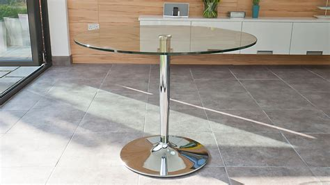 4 Seater Glass Dining Table Modern Glass Table Chrome Pedestal 4 Seater Table