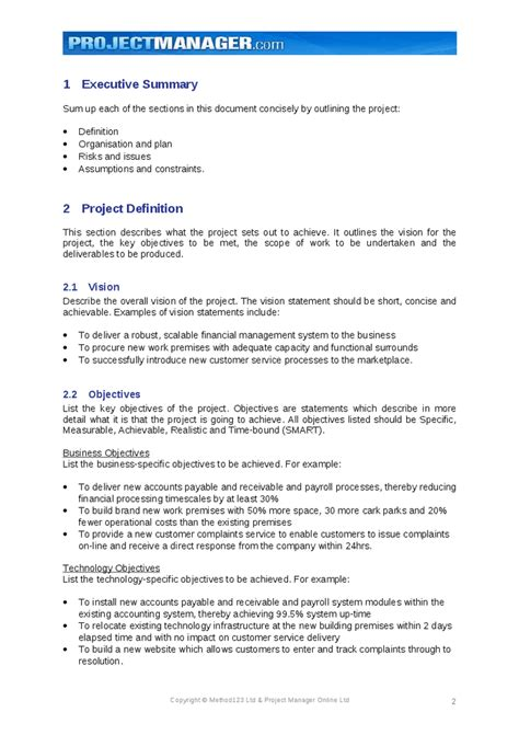 project definition report template project charter template hashdoc