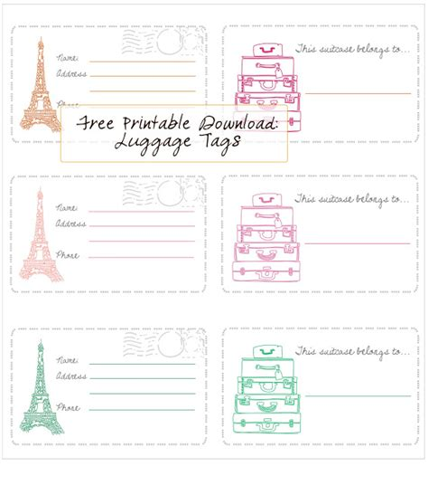 printable travel tags in honor of design free printable luggage tags