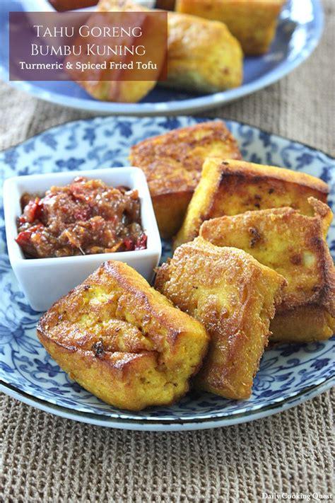 tahu goreng bumbu kuning turmeric  spiced fried tofu