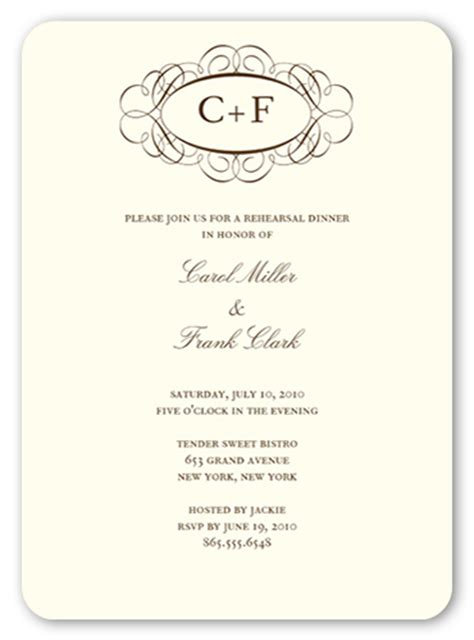 fancy invitation template fancy monogram 5x7 invitation rehearsal dinner