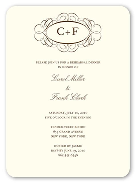 Fancy Monogram Cream 5x7 Invitation   Rehearsal Dinner