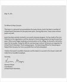 Letter Of Recommendation For A Volunteer by 7 Volunteer Reference Letter Templates 7 Free Word