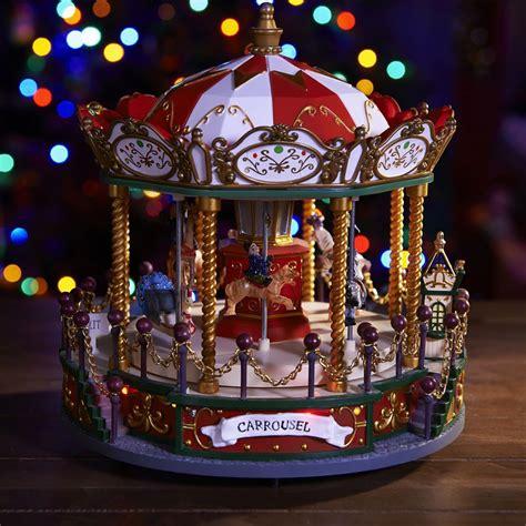 musical christmas carousel with led lights