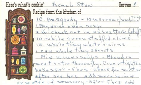 french 75 recipe card french stew recipe handwritten card 171 recipecurio com