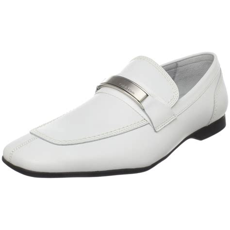 mens loafers white calvin klein mens slip on loafer in white for lyst
