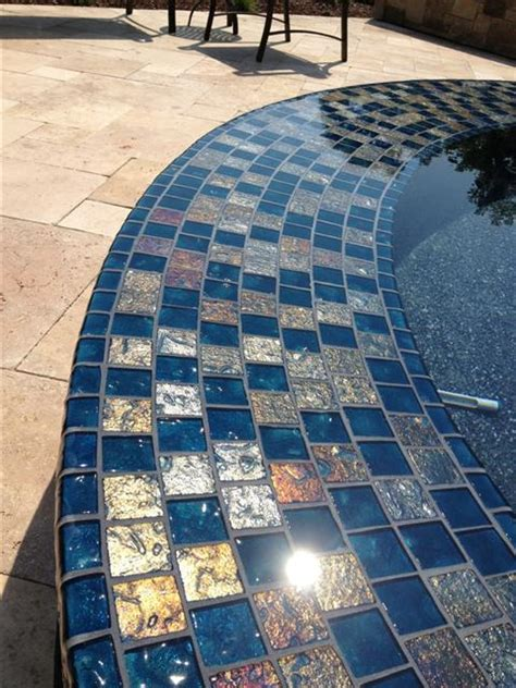 lightstreams gold iridescent collection steel blue glass tile