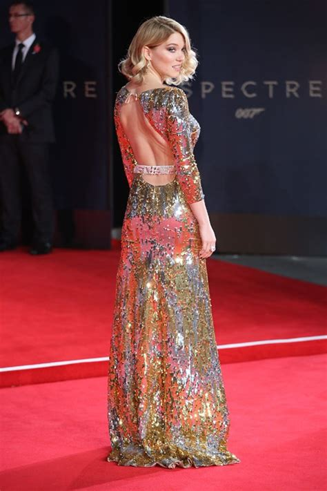 lea seydoux james bond review lea seydoux s gold and silver sequined open back prada