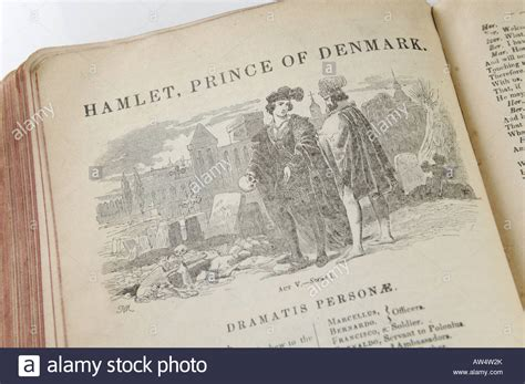 hamlet picture book open book of william shakespeare hamlet stock photo
