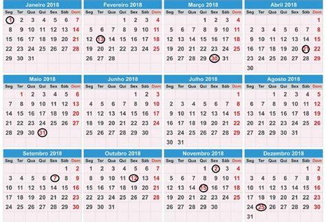Calendario 2018 Para Imprimir Feriados Calend 193 2018 Feriados Para Imprimir Vejas Os