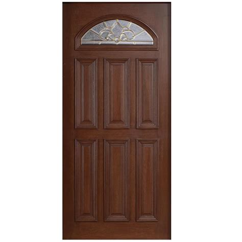Solid Wood Front Door With Glass Door 36 In X 80 In Mahogany Type Fan Lite Glass Prefinished Antique Beveled Brass Solid